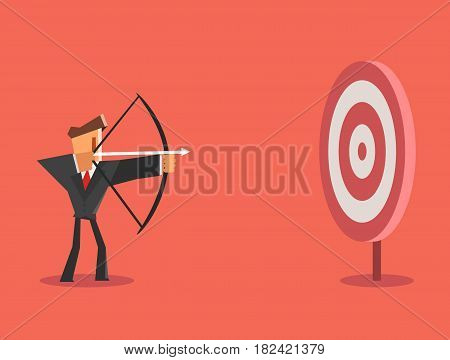 Businessman aiming target. Business concept. Vector illustration
