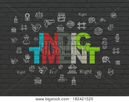 Law concept: Painted multicolor text Indictment on Black Brick wall background with  Hand Drawn Law Icons