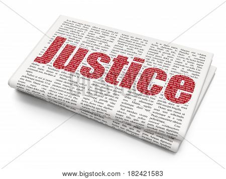 Law concept: Pixelated red text Justice on Newspaper background, 3D rendering