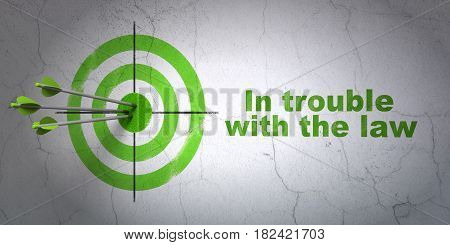 Success law concept: arrows hitting the center of target, Green In trouble With The law on wall background, 3D rendering