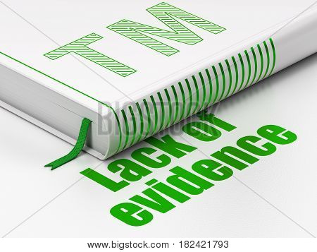 Law concept: closed book with Green Trademark icon and text Lack Of Evidence on floor, white background, 3D rendering