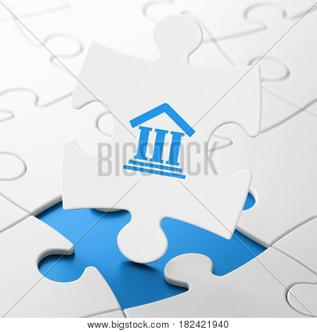Law concept: Courthouse on White puzzle pieces background, 3D rendering