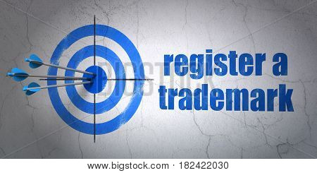 Success law concept: arrows hitting the center of target, Blue Register A Trademark on wall background, 3D rendering