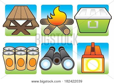 Various items that are nice to have on a camping trip