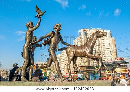 ST PETERSBURG RUSSIA - OCTOBER 3 2016. Sculpture Running children near the Pionerskaya metro station in St Petersburg Russia - closeup view of St Petersburg Russia landmark