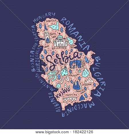 Cartoon map of Serbia with all main sightseeing .