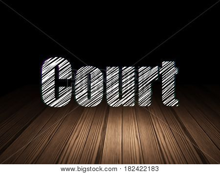 Law concept: Glowing text Court in grunge dark room with Wooden Floor, black background