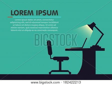 Home or office desk. Flat style. Vector illustration