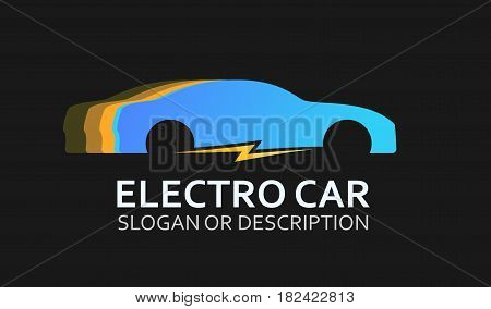 Colorful Logo of Electro Car in Blue Colors. Emblem with Caption isolated on Black Background.