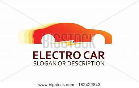 Colorful Logo of Electro Car in Red Colors. Emblem with Caption isolated on White Background.