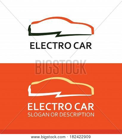 Colorful Logo of Electro Car isolated on White and Orange Background.