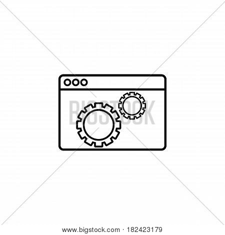 Website optimization line icon, seo and development, browser sign, a linear pattern on a white background, eps 10.