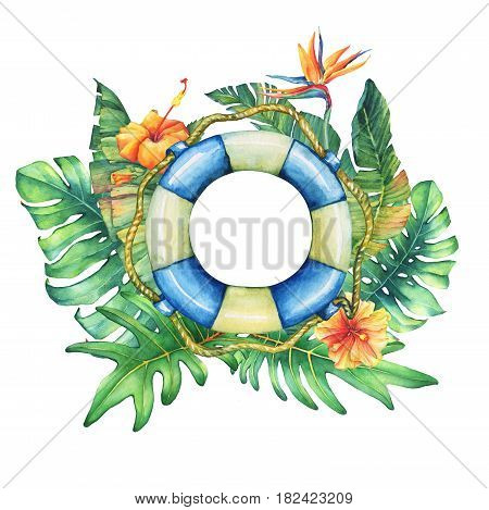 Circle frame with lifebuoy, flowers and tropical plants. Hand drawn watercolor painting on white background.