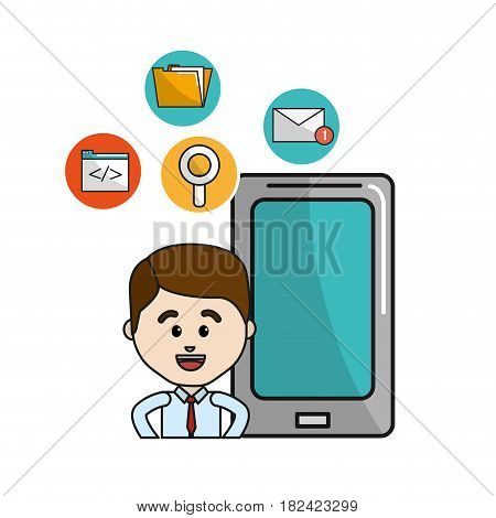 man with smartphone technology tools icons, vector illustration