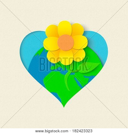 Earth Day Paper Cut Flower Environment Concept