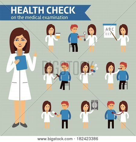 Health check on the medical examination infographic elements, doctor and patient. Medical infographic stock vector