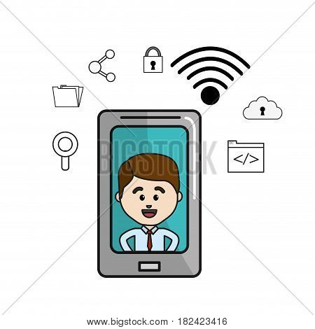 man inside of smartphone and technology icons, vector illustration