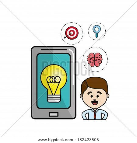 man with smartphone idea bulb and health mental icons, vector illustration