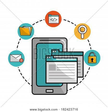 smartphone with documents data open and icons technology, vector illustration