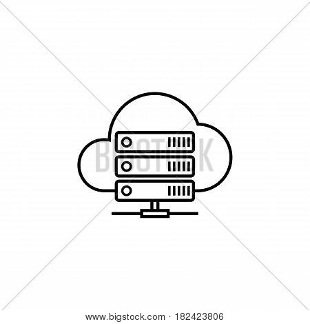 Cloud hosting line icon, seo and development, data base server sign, a linear pattern on a white background, eps 10.