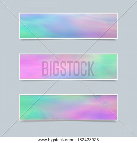 Set of Delicate Banners with Holographic Effect for Business. Collection Templates for Text Message Flyers Cards.