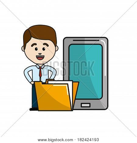 man with smarphone and digital folder file information, vector illustration