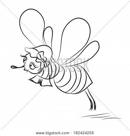 Cartoon image of happy bee. An artistic freehand picture.