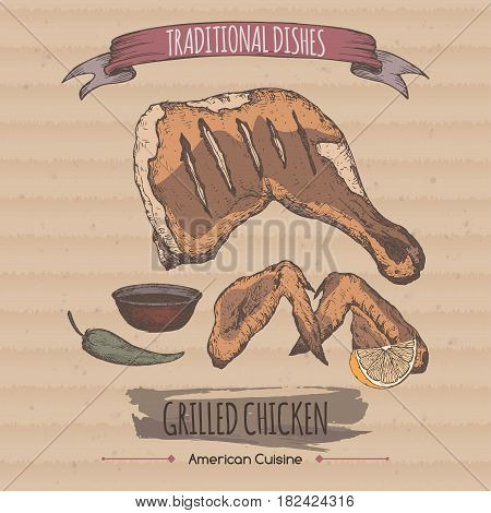 Vintage grilled chicken template placed on carboard background. Great for market, restaurant, grill cafe, food label design.