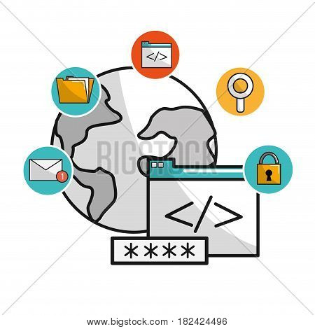 global data service with security icons system, vector illustration
