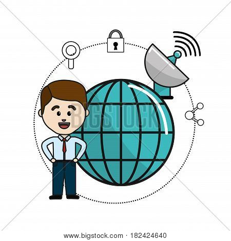 man with global data information and wifi security icons, vector illustration