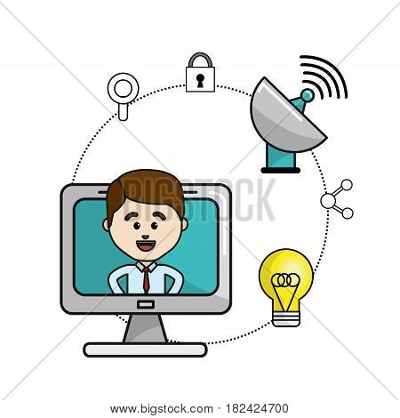 man inside of computer and technology wifi icons, vector illustration