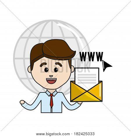 man with global folder file virtual information, vector illustration