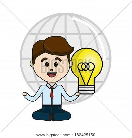 man with idea bulb and global service data, vector illustration