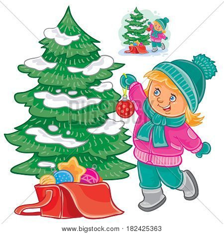 Vector illustration of small girl decorating the Christmas tree. Print