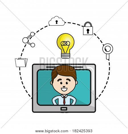 man inside of television with idea bulb and icons service, vector illustration