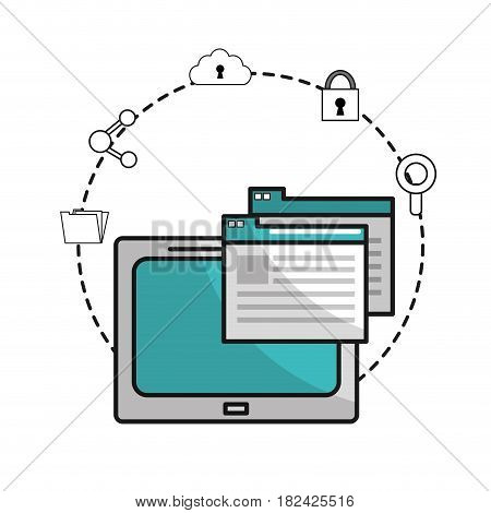 television with digital documents and icons data, vector illustration