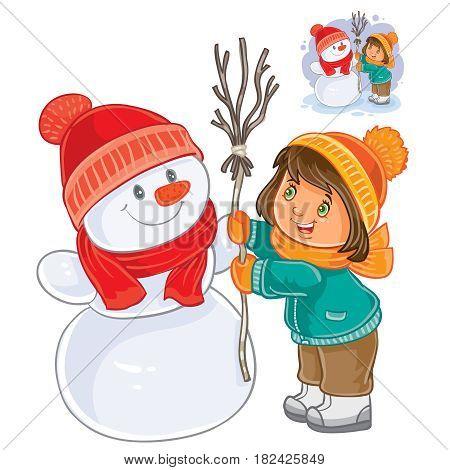 Vector illustration of small girl mold snowman. Print