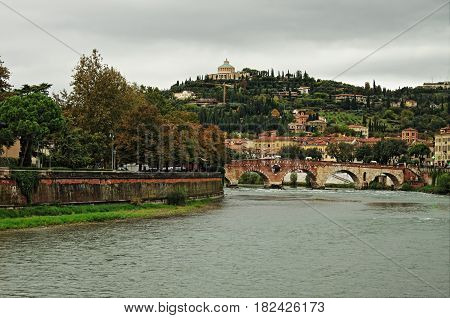 Scenic view of Verona from the river Adige Italy - HDR