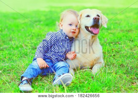 Little Boy Child And Golden Retriever Dog Is Sitting Together On The Grass On A Summer