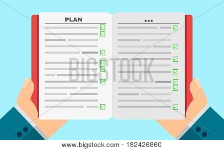 Business man holds a filled diary in hands. Business plan. Green positive graduation marks. Tasks in writing. Vector illustration in a flat style. Cover and paper pages. Agenda. EPS 8