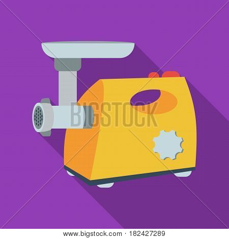 Electical meat grinder icon in flate style isolated on white background. Kitchen symbol vector illustration.