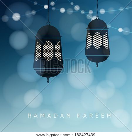 Ornamental Arabic lanterns with string of lights. Greeting card, invitation for Muslim community holy month Ramadan Kareem, vector illustration background.