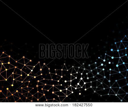Neural net. Neuron network background. Dots connected with lines. Technology concept. Vector illustration.