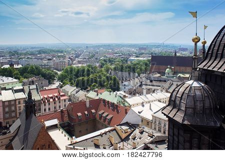 Aerial view of the Cathedral of St. Barbara and the Jesuit Monastery and other roofs of houses in the historic part of Krakow. Poland. View from St Mary's Cathedral.