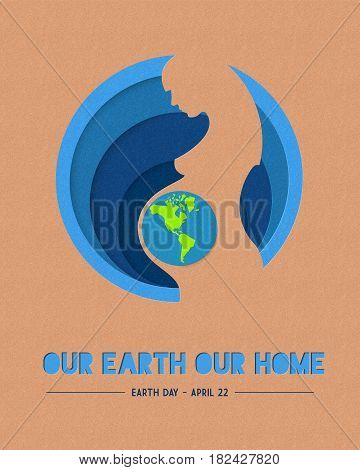 Happy Earth Day Paper Mother Nature Illustration