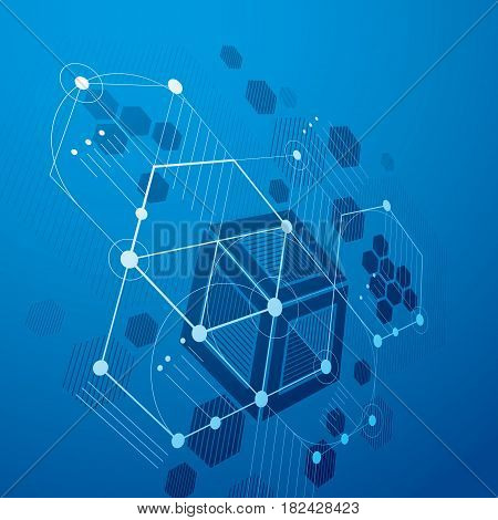 3d vector abstract blue background created in Bauhaus retro style. Dimensional modern geometric composition can be used as templates and layouts.