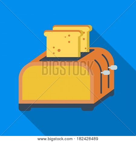 Toaster icon in flate style isolated on white background. Kitchen symbol vector illustration.