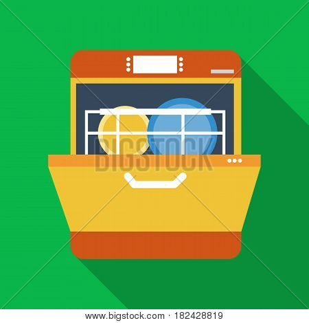 Dishwasher icon in flate style isolated on white background. Kitchen symbol vector illustration.