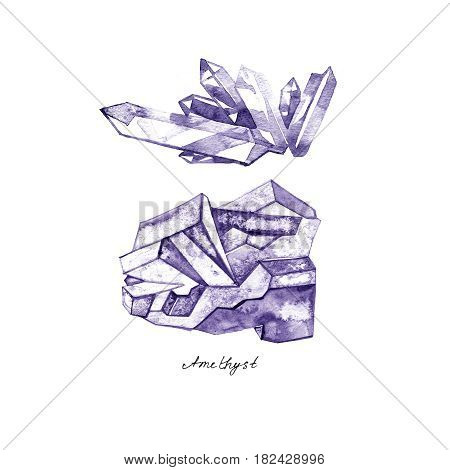 Watercolor purple crystal amethyst cluster hand drawn painting illustration isolated on white background tanzanit gem stones for design fashion advertising, geological logo, scrapbook, jewelry store
