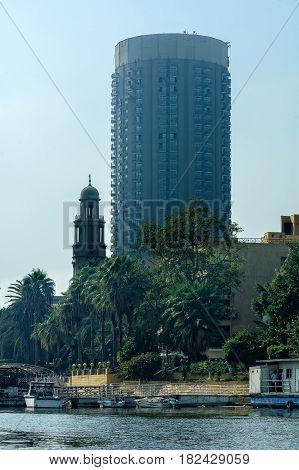 Cairo, Egypt - November 11, 2006: Skyscraper on the River Nile